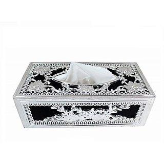 Autostark Sbk-5130 Silver And Black Designer Holder Box Vehicle Tissue Dispenser (Silver Black)