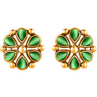 Mahi Monalisa Cats Eye Dark Green Flower Gold Plated Earrings For Women
