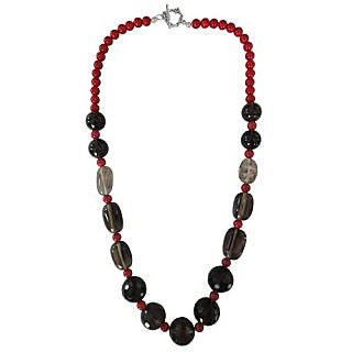Smoky Quartz,Dyed Red Coral 20 Inch Fashion Necklace