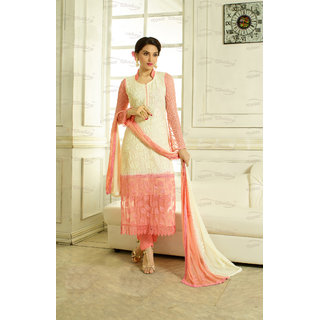 Thankar Light Yellow And Orange Embroidered Chiffon Straight Suit