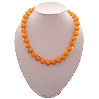 Quartzite 12Mm Orange Color 18 Inch Bold Necklace
