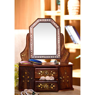 Wood Carving Small Dressing Mirror With Brass Inlay Work