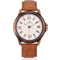 Swisstone Brown Leather Strap Watch For Men/Boys-ST-GR003-WHT-BRW