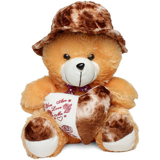 Trimurti Multicolour Teddy with Heart  Cap Soft Toy