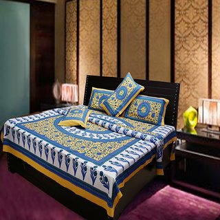 Akash Ganga Multi-Colour Traditional 100  Cotton Double Bed Sheet (Hind1)
