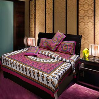 Akash Ganga Multi-Colour Traditional 100 Cotton Double Bedsheet (Hind2)
