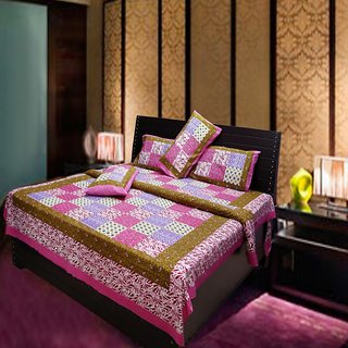 Akash Ganga Multi-Colour Cotton Double Bedsheet with 2 Pillow Covers (Hind10)
