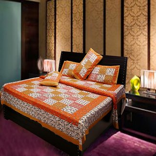 Akash Ganga Multi-Colour Pure Cotton Double Bedsheet with 2 Pillow Cover (Hind4)