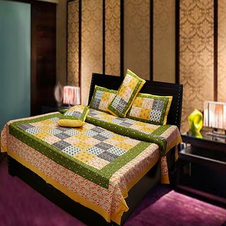 Akash Ganga Multi-Colour Pure Cotton Double Bedsheet with 2 Pillow Cover (Hind5)
