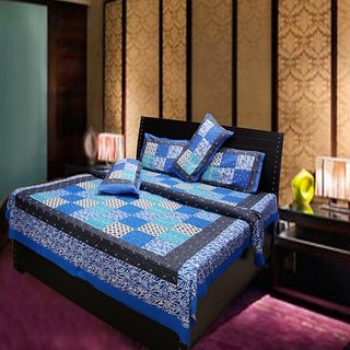Akash Ganga Multi-Colour Pure Cotton Double Bedsheet with 2 Pillow Cover (Hind9)