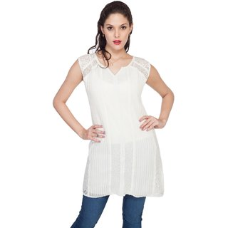 SOIE Womens White Nylon Tunics