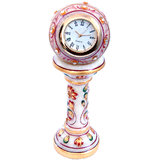 Ethnic Design Marble Table Clock Handicraft -by MarwadiStore