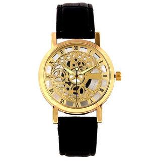 Round Dial Black Leather Strap Mens Quartz Watch