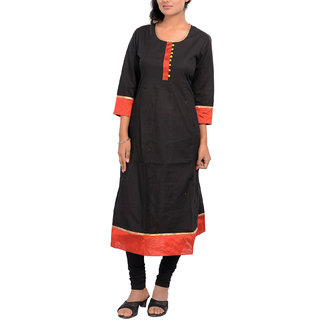 Cotton Printed 3/4Th Sleeve Black-Red Party Wear Anarkali Kurti