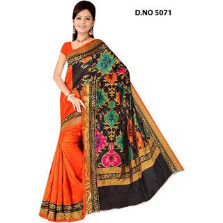 Manvaa Pleasing Multicolour Bhagalpuri Saree Designer Print With Unstiched BlouseBGLP5071
