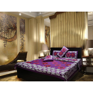 Akash Ganga Cotton Purple Double Bedsheet with 2 Pillow Covers (Cplus9)
