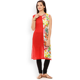 Patola Solid Red and Printed Double Panel Kurti