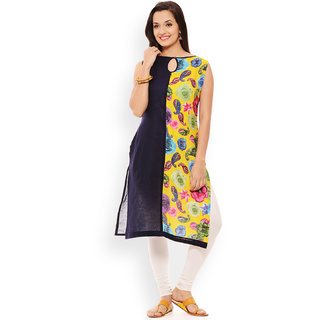 Patola Solid Blue and Printed Double Panel Kurti