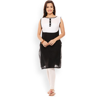 Patola Black and Whit Solid Kurti
