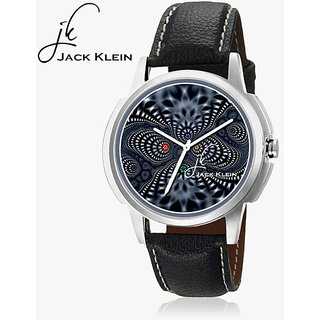 Jack Klein Round Dial Black Leather Strap Unisex Watch