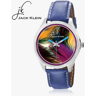 Jack Klein Round Dial Blue Leather Strap Unisex Watch