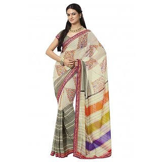 Prafful Multicolor Georgette saree with unstitched blouse