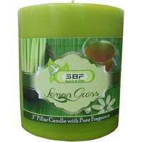 SBF Lemon Grass Highly Fragranced 3 Inches Pillar Candle