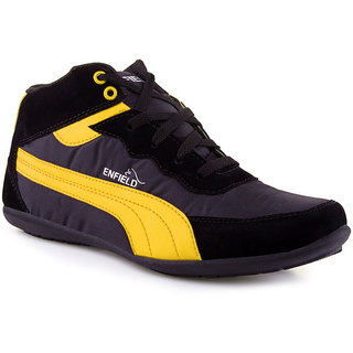 Stylos Mens Black and Yellow Casual Shoes