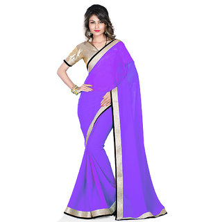 Rangoli Awesome Georgette Purple Embroidered Saree ( GZ-1042 )