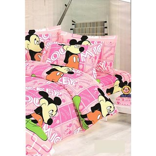 Kids Micky Mouse Print Double Bed Sheet + 2 Pillow Covers