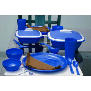Cutting EDGE Solitaire Microwaveable Dinner Set For 4 28pcs Blue