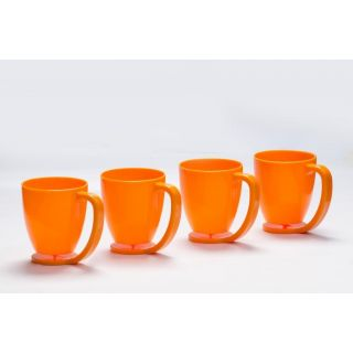 Cutting EDGE Floating Cups blue with inbuilt coaster set of 4 Orange