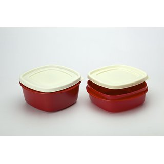 Cutting EDGE Snap Tight Storage Containers Set Of 4 Red 2nos 1500 ml and 2 nos 2000 ml