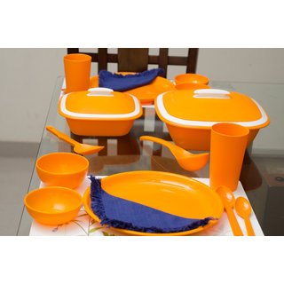 Cutting EDGE Solitaire Microwaveable Dinner Set For 4 28pcs Orange