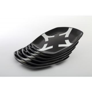 Cutting EDGE Microwaveable Dual Colour Snack Plates set of 6 Black-White