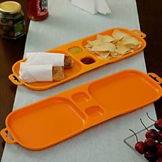 Cutting EDGE Serve and Dip Xcelsior Snack Trays Orange set of 2