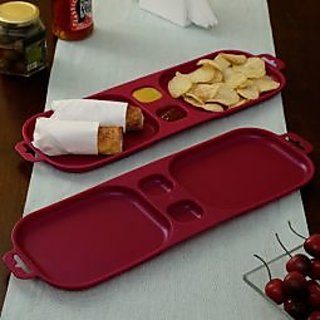 Cutting EDGE Serve and Dip Xcelsior Snack Trays Red set of 2