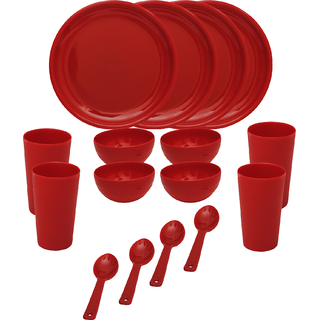 Cutting EDGE Solitaire Microwaveable Dinner Set For 4 28pcs Red