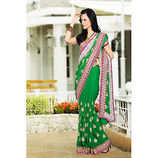 Elite Green Embroidered Georgette Saree available at ShopClues for Rs.6100