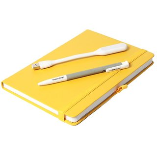 Modabook Premium Leatherite A5 Yellow Hard Bound Notebook With 1Usb Light 1Pen