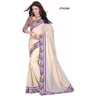 Creame color Bright Polyster Saree with Bangalori Silk Blouse.