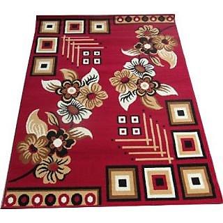 FCARPET Polypropylene Floral Carpet - 120 x 155 CM Red