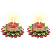 Sukkhi Dual Coloured, Red And Green Floral Diya Candle