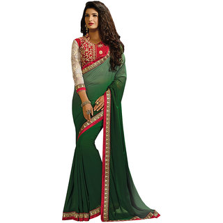 Lovely Look Latest collection of Sarees Olive Color