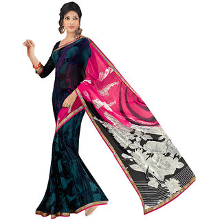 Lovely Look Multi Printed with Less Saree LLKBSM1511