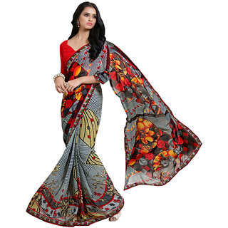Lovely Look Grey  Red Printed With Less Saree LLKKMB2551