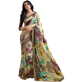 Lovely Look Beige  Dark Purple Printed With Less Saree LLKKMB2552
