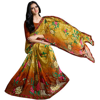 Lovely Look Beige  Brown Printed With Less Saree LLKKMB2553
