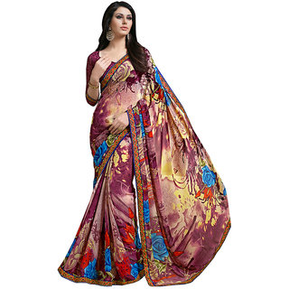 Lovely Look Wine  Beige Printed With Less Saree LLKKMB2564