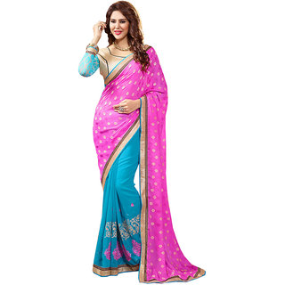 Lovely Look Latest collection of Sarees in Georgette  Jacquard Fabric  in Pink  Sky Blue Color